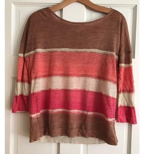 LOFT Striped 3/4 Sleeve Sweater Tan Pink Coral S